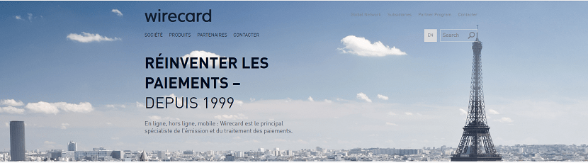capture ecran du site Wirecard