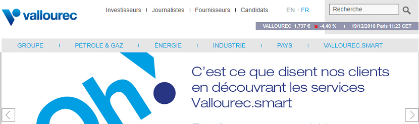 capture ecran du site Vallourec